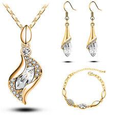 LUSSO GIOIELLO Set collana braccialetto orecchini donna sposa oro con Moda Nuovo