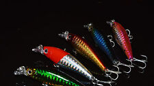 5PCS Fishing Lure Treble Hook Lures Crankbait Minnow baits 7cm/6.3g