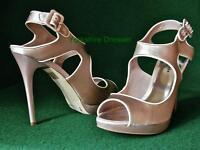 New KAREN MILLEN Nude Pink Beige Structured Elegant Satin Sandals Shoes Uk 4 & 7