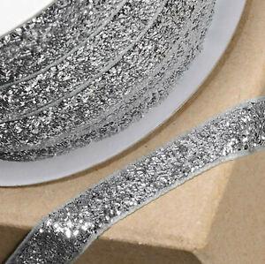 SILVER VELVET GLITZY RIBBON 10mm x 10M CRAFT CHRISTMAS CAKE GIFT WRAP BIRTHDAY