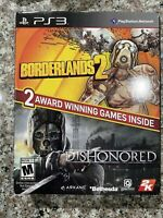 BORDERLANDS 2 & DISHONORED (Sony PlayStation 3, PS3) Video Games Complete!