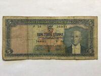 1930, 5 Lira Turkey Very High Value Banknote