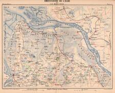 Elbe, Mündungsgebiet, Stade, Glückstadt,Geestemünde, Original-Lithographie 1888