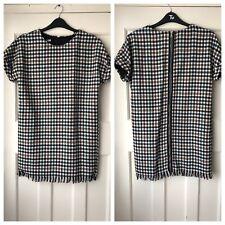 ZARA FRAYED CHECKED MINI TWEED DRESS SIZE UK M BNWT REF.4661/315