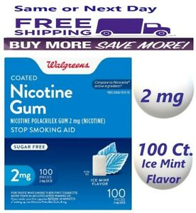 Walgreens Nicotine Gum 2mg 100 Pieces, Ice Mint Flavor Compared to Nicorette