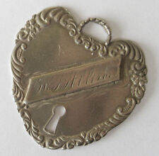 Victorian Style Sterling Silver HEART LOCK Luggage Tag Pendant Foree Hunsicker?