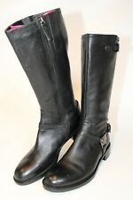 Ecco Womens Size 8 39 Hobart Harness Leather Zip Flat Riding Boots 310393