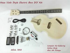 HSVL1910 Complete No-Soldering Electric Bass Guitar DIY Kit,HH,Hollow Body