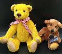 "Lot of 2 German Teddy Bears Knickerbocker Gulliver USA 6"" & Gold Bear to Bear 8"""