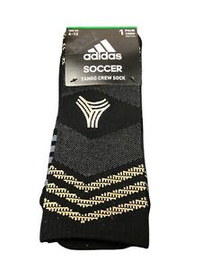 Adidas Soccer Tango Crew Socks Mens Size Large Black Grey Gold Color 1 Pair NEW