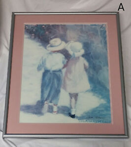 Hand Signed Framed Ivan Anderson Secrets Art Print Children Pink Blue Nursery