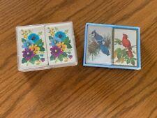vintage playing cards doubledeck,Whitman & Hallmark plastic cases, birds,flowers