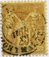 FRANCE - 1880 25c BISTRE-ORANGE sur JAUNE SAGE N sous U Oblitéré B/TB (a)