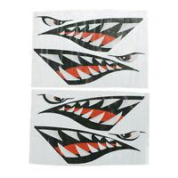 2 Pcs Shark Teeth Vinyl Decal Stickers for Dinghy Boat Kayak Canoe ^P