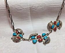Necklace,Vintage, handcrafted, sterling silver Turquoise & Coral Ladies