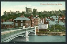 Windsor Castle from the Bridge - river boats houses view - old vintage postcard
