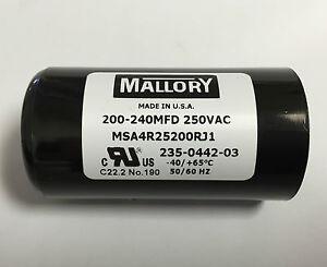 200 240uf MSA4R25200R 250VAC Mallory Motor Start Capacitor suit 240VAC BMI