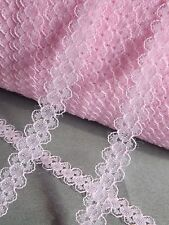 10 yds Pink Strip Net Lace Trim Ribbon Applique Wedding Dress Cloth Sewing Craft