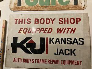 "Vintage Kansas Jack Body Shop Sign 36x24"" Double Sided Metal Garage 1970s Rare"