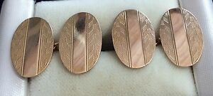 Nice Quality Gents Vintage Full Hallmarked 9Ct Gold Cufflinks - Maker S.H