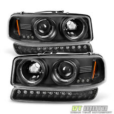 Black 99-06 Gmc Sierra Yukon Halo Projector Headlights +Led Bumper Signal Lights