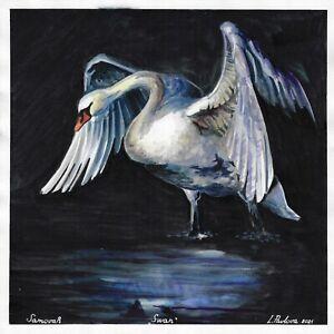 original painting 30 x 30 cm 74PvO art samovar Watercolor animal bird Swan