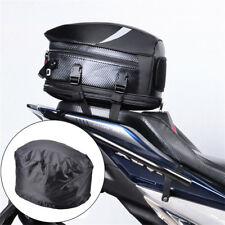 Universal Black Motorcycle Rear Box Seat Mount Helmet Case Hand Bag +Rain Cover
