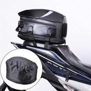 Universal Black Motorcycle Rear Box Seat Mount Helmet Case Hand Bag +Rain Cover