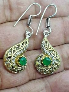 Gold & Silver Plated Drop Dangle Earrings Raw Emerald & Diamante Crystals New