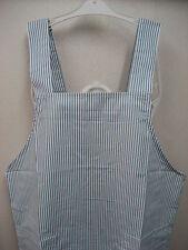 Japanese Style Blue White Stripe Kitchen Work Shop Garden Apron Poly Cotton Chic