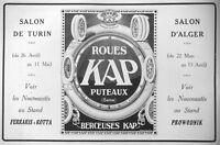 PUBLICITÉ DE PRESSE 1913 ROUES KAP PUTEAUX SALON DE TURIN ET D'ANGER PROWODNIK