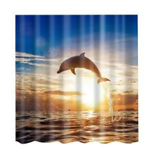 Waterproof Polyester Dolphin Print Shower Curtain Sheer Panel + 12pcs Hook