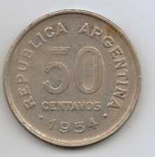 ARGENTINA - 50 CENTAVOS 1954 Nickel Placcati in acciaio - 5 G – Ø 23 mm