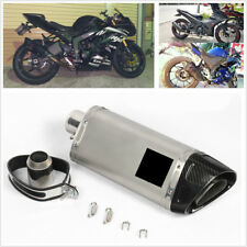 1X 51MM Glossy Carbon Fiber Motorcycle Rear Exhaust Muffler Pipe Tip Tail Throat