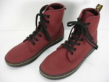 DR MARTENS SHOREDITCH CHERRY RED CANVAS 7 EYELET LACE UP BOOTIES WOMEN'S 6 MINT