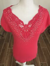 Ebelieve Sz S/M  Crochet Embellished Rhinestone Cap Sleeve Top Cotton Blend