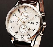 NUOVO HUGO BOSS HB1512447 Cinturino in Pelle Marrone Classico Orologio Cronografo da uomo