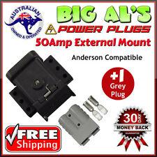 50Amp Anderson External Mounting Mount Kit Bracket Dust Cap Cover + 1 Grey Plug
