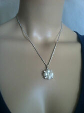 Jewerly Sarah Silvertone Necklace/Chain w/ Rhinestones Faux Pearls Pendant  #153
