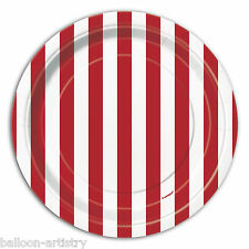 """8 RED White Stripes Style Party Small 7"""" Disposable Paper Plates"""
