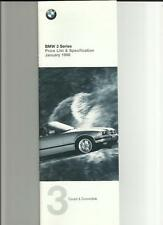 BMW 3 SERIES COUPE CONVERTIBLE (INC.SPORT & M) PRICE LIST BROCHURE  JANUARY 1998