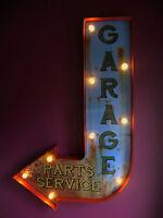 GARAGE arrow sign light led parts service vintage rusty present mancave VAC185