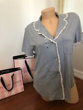 NWT Victorias Secret Pajamas nightshirt  button up nightgown Gray Soft Cotton S