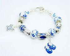 wholesale European Murano Glass Beads solid Silver Charm Bracelet Gift Box XB068
