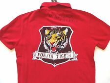 New Ralph Lauren Polo Custom Fit Red Naval Training Tiger Patch Cotton Shirt S
