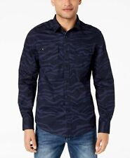 $99 SEAN JOHN Men's CLASSIC-FIT BLUE CAMO LONG-SLEEVE BUTTON DRESS SHIRT SIZE M