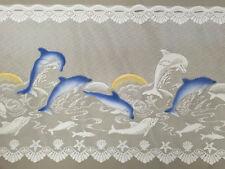 Caravan Kitchen Lace Curtain Dolphin print 90cm drop - Lace Cafe Valance