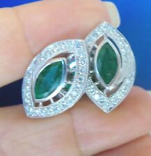 Gorgeous Natural Emerald & Diamond Solid 14K Gold Large Stud Earrings