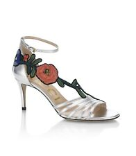 2f576ae5eb2 New In Box Gucci Ophelia Floral-Embroidered Metallic Leather Sandals  36EU 6US
