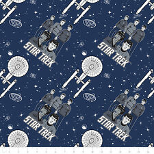 Fat Quarter Star Trek Galaxy Pop Characters Ship Navy Cotton Quilting Fabric